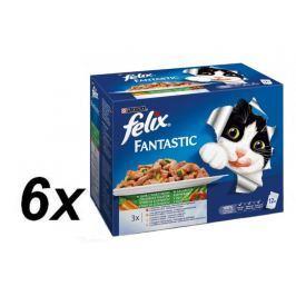 Felix saszetki dla kota Fantastic multipack warzywny - 6 x (12 x 100g) Saszetki