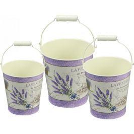 NOHEL GARDEN Set kulatých kbelíků Levandule 3 ks Doniczki