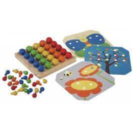 Plan Toys Drewniana plansza z obrazkami i kołeczkami Drewniane puzzle, gry