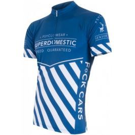 Sensor Męska koszulka z krótkim rękawem Cyklo Superdomestic Blue Koszulki rowerowe