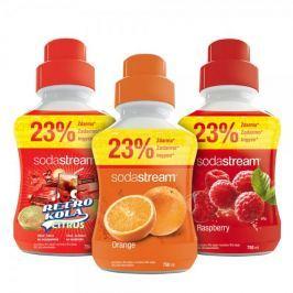 Sodastream syropy pomarańczowy, malinowy, retro cola 750 ml