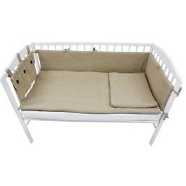 EKO Dzianinowy zestaw do łóżeczka dziecęcego, brązowy Pościel