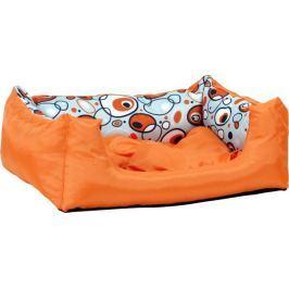 Argi prostokątne legowisko z poduszką, pomarańczowe ze wzorem, rozm. S Legowiska