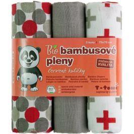 T-tomi BIO Pieluchy bambusowe, czerwone grochy