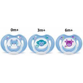 BAYBY Zestaw smoczków 0m+, 3m+ i 6m+, niebieski