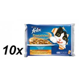 Felix saszetki dla kota Sensations - łosoś+ krewetki oraz dorsz+pomidory - 10x(4x100g)