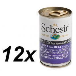 Schesir mokra karma dla kota z tuńczykiem i wołowiną 12 x 140g
