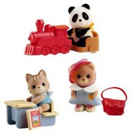 Sylvanian Families Pudełko do przenoszenia z maluchem  Panda na ciuchci/Miś z torbą/Kotek przy biurku 3350