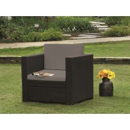 Allibert brązowy fotel + szarobrązowe poduszki Provence