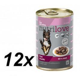 Nutrilove mokra karma dla psa z cielęciną i indykiem 12 x 415g