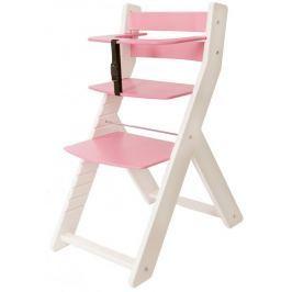 Wood Partner Krzesełko do karmienia UNIZE, biało-różowe
