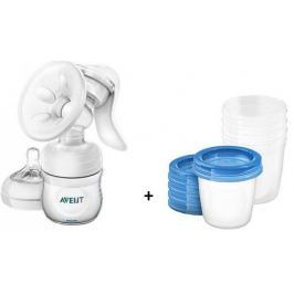 Philips Avent Laktator Natural z butelką 125 ml + pojemniki VIA (5 szt.)