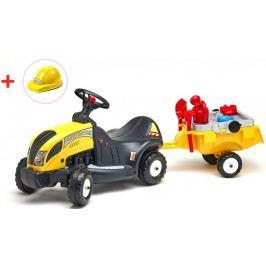 Falk Traktor jeździk z przyczepą i kaskiem 3055E + zestaw zabawek do piasku