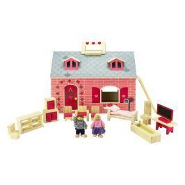 Marionette Dwupiętrowy domek dla lalek drewniany, 19 el.