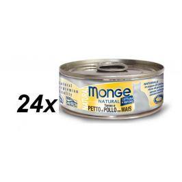 Monge mokra karma dla kota Natural z kurczakiem, tuńczykiem i kukurydzą 24 x 80 g