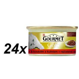 Gourmet mokra karma dla kota Gourmet Gold wolowina i kurczak w sosie pomidorowym 24 x 85 g