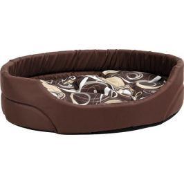 Argi owalne legowisko z poduszką, brązowe ze wzorem, rozm. S