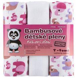T-tomi Pieluszki bambusowe (3 szt.), Różowe słonie