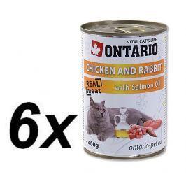 Ontario mokra karma dla kota Kura, królik i olej z łososia - 6 x 400 g.