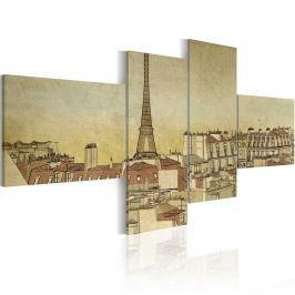 Obraz - Paryski szyk w wydaniu Retro (100x45 cm)