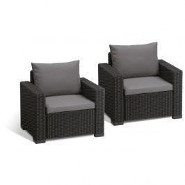 Fotele ogrodowe California Duo Allibert 83x72cm grafit/szary