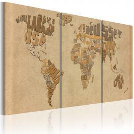 Obraz - Mapa świata w beżach i brązach (60x30 cm)