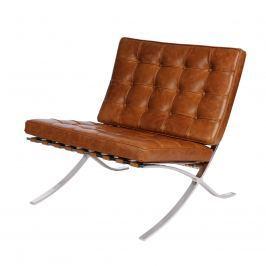 Fotel BA1 brązowy jasny vintage Krzesła i taborety