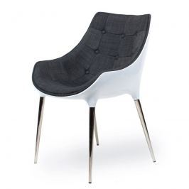 Fotel 56x58x81cm King Home Passion szaro-biały Fotele i pufy