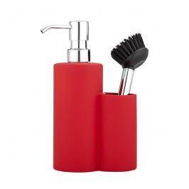 Dyspenzer do mydła & kubek na szczoteczki 21x6,5cm Ladelle Classic Soft Matt czerwony