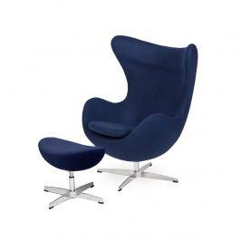 Fotel z podnóżkiem 83x107x72cm King Home Egg atlantycki niebieski