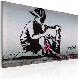 Obraz - Union Jack Kid (Banksy) (60x40 cm) Obrazy i plakaty