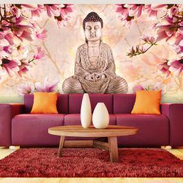 Fototapeta - Budda i magnolia (550x270 cm) Fototapety