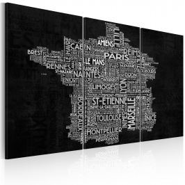 Obraz - Text map of France on the black background - triptych (60x40 cm)