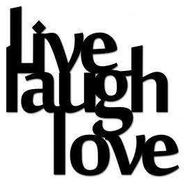 Napis 3D na ścianę DekoSign LIVE LAUGH LOVE czarny Pozostałe artykuły wyposażenia wnętrz