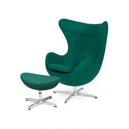 Fotel z podnóżkiem 83x107x72cm King Home Egg szmaragdowy zielony Fotele i pufy