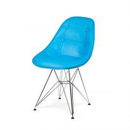 OUTLET Krzesło EKO SILVER jasny niebieski T28 - ekoskóra, podstawa metalowa chromowana Stoły z krzesłami