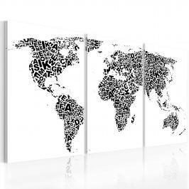 Obraz - Litery i kontynenty (60x30 cm)