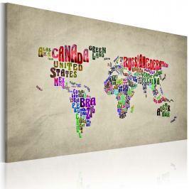 Obraz - Mapa świata - nazwy państw w języku angielskim (60x40 cm)