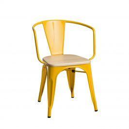 Krzesło Paris Arms Wood D2 sosna naturalna/żółte