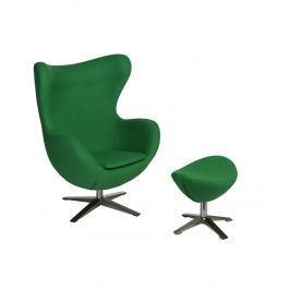 Fotel + podnóżek wełna Jajo D2 zielony