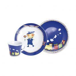 Zestaw porcelanowy dla dzieci Pociąg 3szt Kahla Kids niebieski