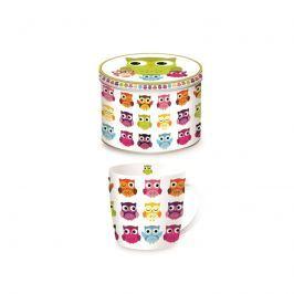 Porcelanowy kubek w blaszanym pudełku 350 ml Nuova R2S Happy Life sowy