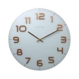 Zegar ścienny 30 cm Nextime Classy biało-miedziany