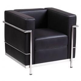 Fotel 76x69x69cm Quadre LC Steel czarna skóra