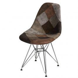 Krzesło P016 DSR patchwork D2 beżowo-brązowe