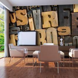Fototapeta - Litery z drewna (550x270 cm)