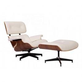 Fotel z podnóżkiem 91x89x85cm Quadre Vip orzech amerykański/biała skóra