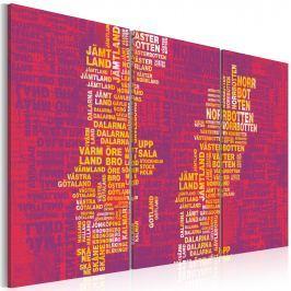 Obraz - Mapa Szwecji (różowe tło) - tryptyk (60x40 cm)