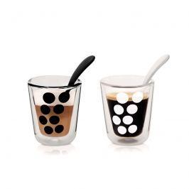 Zestaw 2 szklanek 350 ml z łyżeczkami Zak! Designs Dot