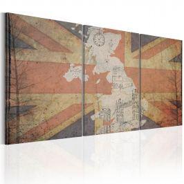Obraz - Mapa Wielkiej Brytanii (Vintage) (60x30 cm)
